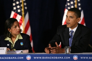 Susan Rice and Barack Obama during his first campaign; Rice was one of Obama's earliest backers. (AP Photo)