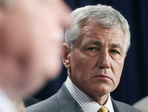 File: Sen. Chuck Hagel, R-Neb. in 2007, on Capitol Hill in Washington.