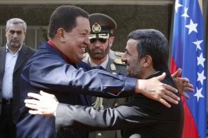 Hugo Chávez and Mahmoud Ahmadinejad embrace. (AP/File)